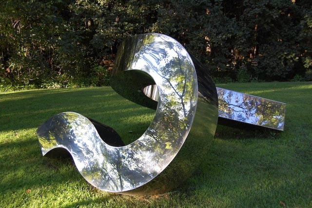 Stephen Porter created this work in polished stainless steel; he also exhibits wood and stone forms in the LaCombe show.