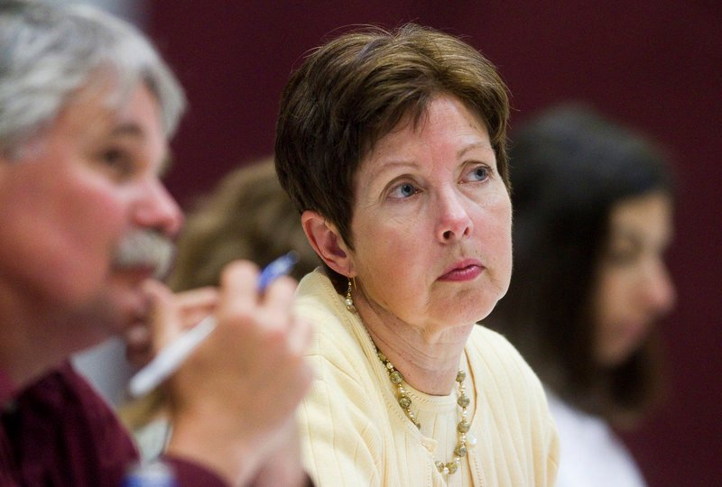 Patricia Aho, commissioner of the Maine Department of Environmental Protection, is shown at a public hearing in the Hancock County town of Aurora earlier this month. In 2008, when she was lobbying for a number of corporate interests, Aho had fought to stop the Kid Safe Products Act from becoming law. And just weeks before she was appointed to the DEP, Aho was working as the principal lobbyist for the American Chemistry Council, which also opposed the law and has sought to weaken it.