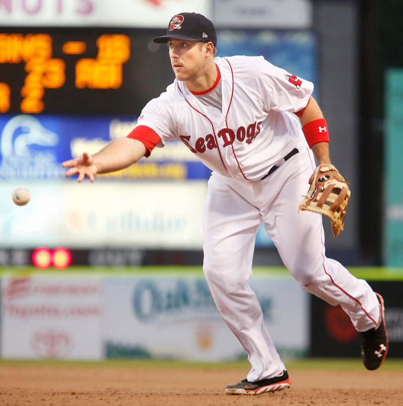 Travis Shaw makes an underhand toss Thursday during the Sea Dogs' 2-0 win over Erie.