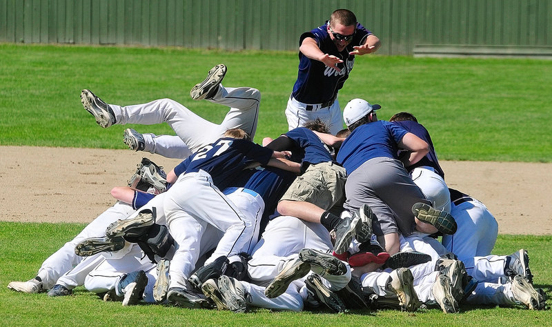 The celebration was on Saturday after Westbrook knocked off defending Class A champion Messalonskee to win the school's first baseball state title since 1951.