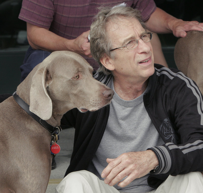 William Wegman, shown in 2007 with one of his wiemaraners, will open the Maine College of Art's Visiting Artist Summer Lecture Series at 6:30 p.m. Thursday in MECA's Osher Auditorium in Portland.