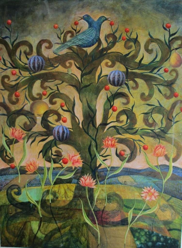 """""""Two-Headed Blue Bird"""" by Julia Zanes."""