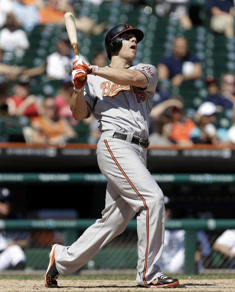 Chris Davis of the Orioles hits his second of two homers Wednesday in Baltimore's 13-3 win at Detroit. Davis leads the majors with 26 homers.