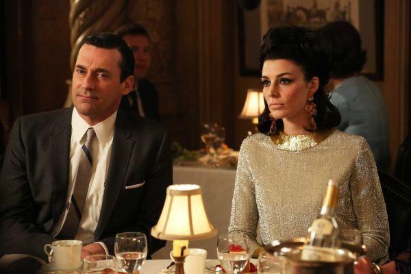 "Jon Hamm as Don Draper, left, and Jessica Pare as Megan Draper in ""Mad Men."" The season finale airs Sunday."