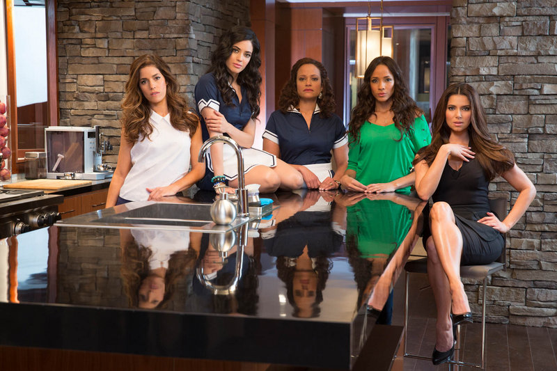 """The cast of """"Devious Maids,"""" a new series premiering Sunday on Lifetime, includes, from left, Ana Ortiz, Edy Ganem, Judy Reyes, Dania Ramirez and Roselyn Sanchez."""