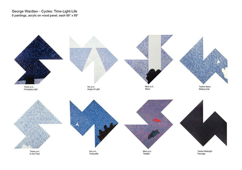 """The """"Cycles"""" series by George Wardlaw consists of eight 6-foot-square canvases."""