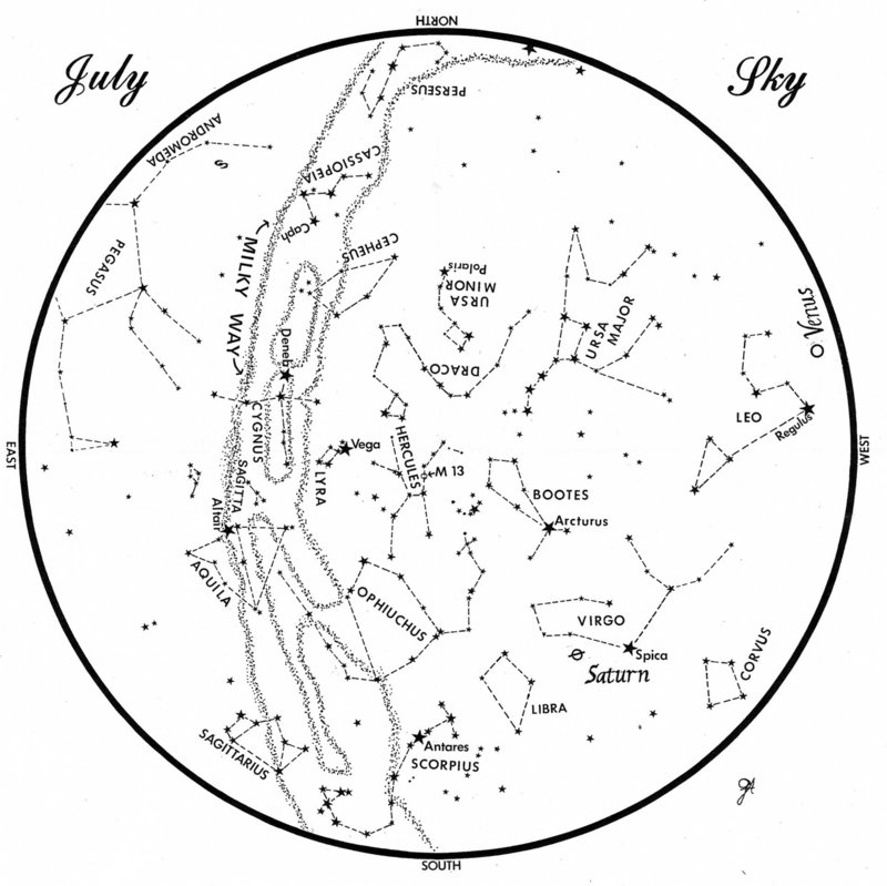 SKY GUIDE: This chart represents the sky as it appears over Maine during July. The stars are shown as they look at 10:30 p.m. early in the month, at 9:30 p.m. at midmonth and at 8:30 p.m. at month's end. Saturn and Venus are shown in their midmonth positions. To use the map, hold it vertically and turn it so that the direction you are facing is at the bottom.