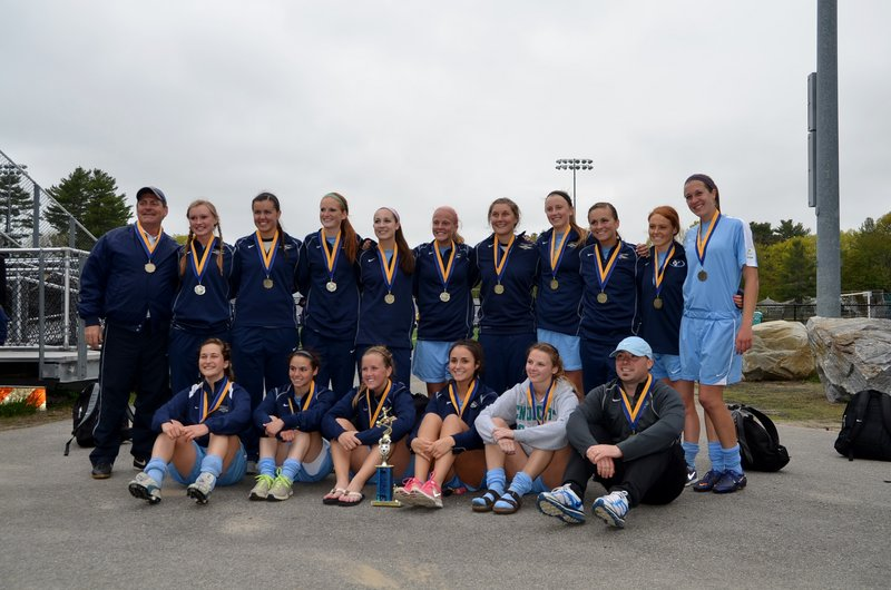 The Seacoast United Maine U18 girls' soccer team won the Maine State Cup Championship with a 1-0 victory over the MCU Portland Phoenix Elite. Team members, from left to right: Front – Cassie Darrow, Falmouth; Erin Smith, Gorham; Paige Tetu, Brunswick; Holly Rand, North Yarmouth; Kip Chipman, Brunswick; and Head Coach Kenny Hayner; Back – Assistant Coach Bill Meader; Katie Couture, Arundel; Emily Richards, Arundel; Hannah Kallis, Sanford; Taylor Leborgne, Scarborough; Maria Philbrick, Scarborough; Sarah Martens, Scarborough; Allison Hill, Brunswick; Jess Meader, Scarborough, Megan Decker, Yarmouth; and Julia Mitiguy, Cumberland.