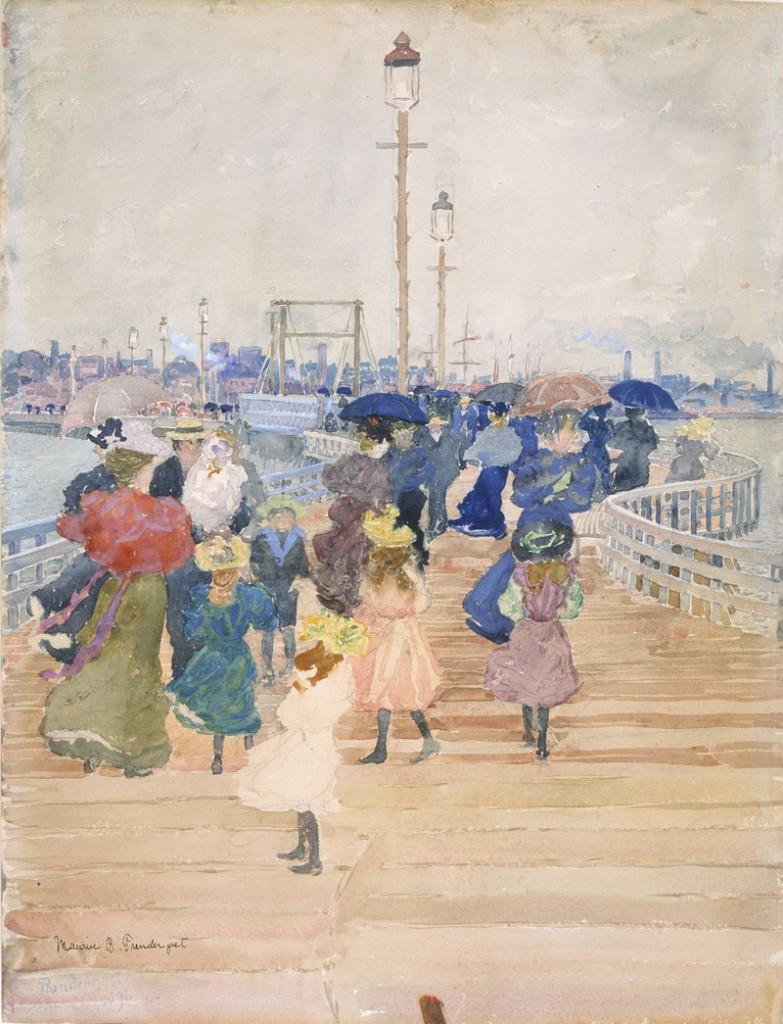 """""""South Boston Pier,"""" 1896, watercolor and graphite."""