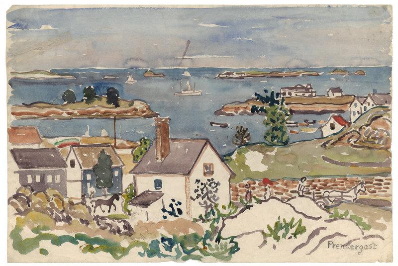 """""""Harbor Village,"""" ca. 1916-1919, watercolor and pencil."""