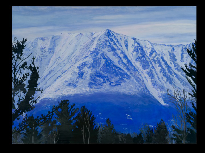 """""""First View (Katahdin)"""" by Veronica Cross, from """"Gift of Glacier: The Maine Landscape,"""" paintings by 23 Maine artists, continuing through Oct. 15 at the L.C. Bates Museum in Hinckley. An artist reception will be held from 2 to 4 p.m. Sunday."""