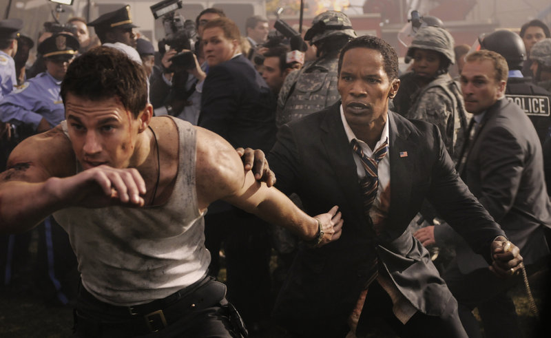 """Channing Tatum and Jamie Foxx in """"White House Down."""""""