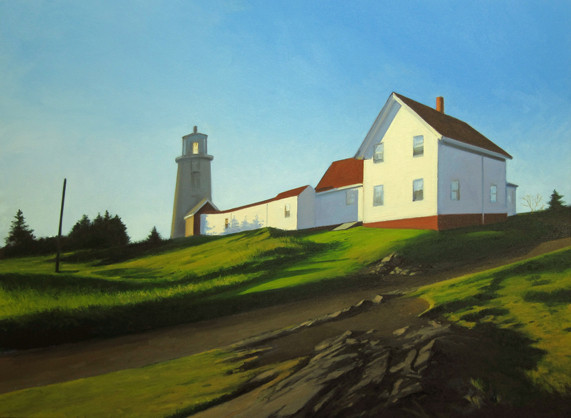 """""""Up to the Lighthouse"""" by landscape painter Kevin Beers, from """"Monhegan Island,"""" the exhibition of his work continuing through July 27 at Gleason Fine Art in Boothbay Harbor. A reception for Beers and fellow exhibitor Tim Christensen, a ceramic artist, will be held at 5 p.m. Friday."""