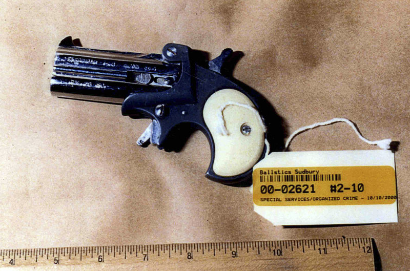 """This photo of a gun was presented as evidence during the trial of James """"Whitey"""" Bulger in U.S. District Court in Boston."""