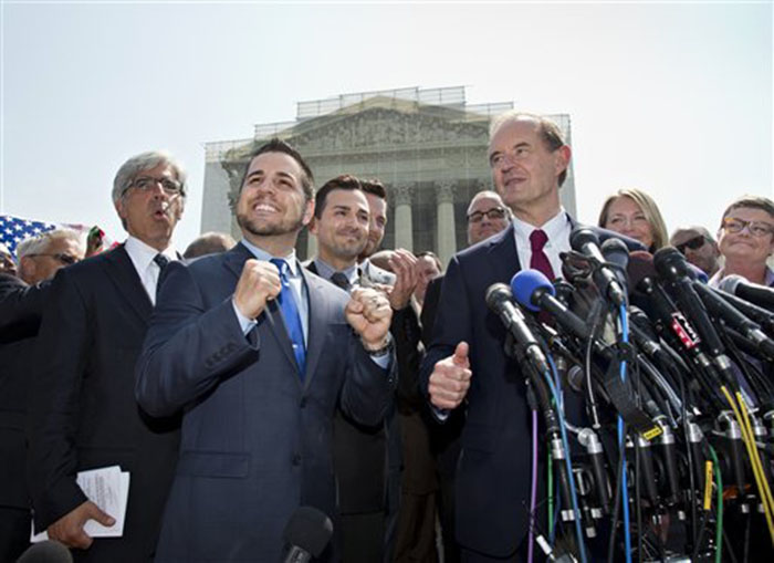 Plaintiffs in Hollingsworth v. Perry, the California Proposition 8 case, react to the 5-4 decision of the Supreme Court on Wednesday outside the court in Washington. From left are, attorney Ted Boutrous, Jeff Zarrillo, and his partner Paul Katami, David Boies, and Sandy Stier and her partner Kris Perry.