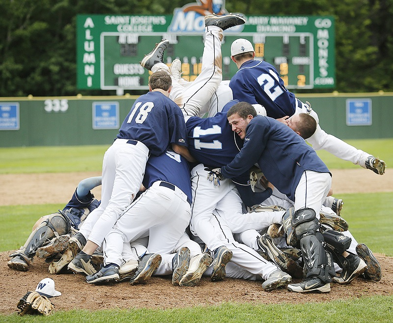 Westbrook players form a pile on top of pitcher Keenen Lowe after a 5-0 win over Marshwood on Wednesday afternoon in the Western Class A baseball final. The Blue Blazes will play for the state title Saturday against Oxford Hills or Messalonskee.