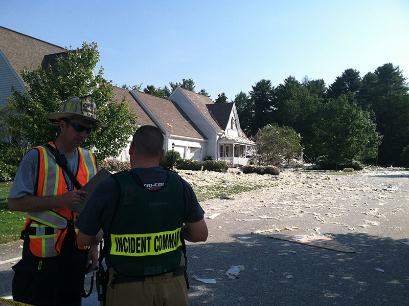 The scene Tuesday morning at a Yarmouth condominium complex after an early morning explosion.