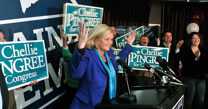 In this November 2012 staff file photo, U.S Rep. Chellie Pingree, D-Maine, celebrates her victory at the Bayside Bowl in Portland. Maine's 1st District congresswoman went from giving to fellow politicians about $180 a year to about $67,000 a year.