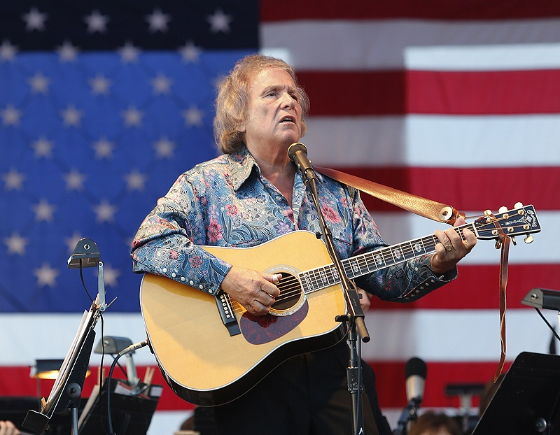"""American Pie"" songwriter and Thursday's special guest artist Don McLean performs with the Portland Symphony Orchestra. McLean, a Camden resident, had the crowd singing along to the chorus of his hit song."