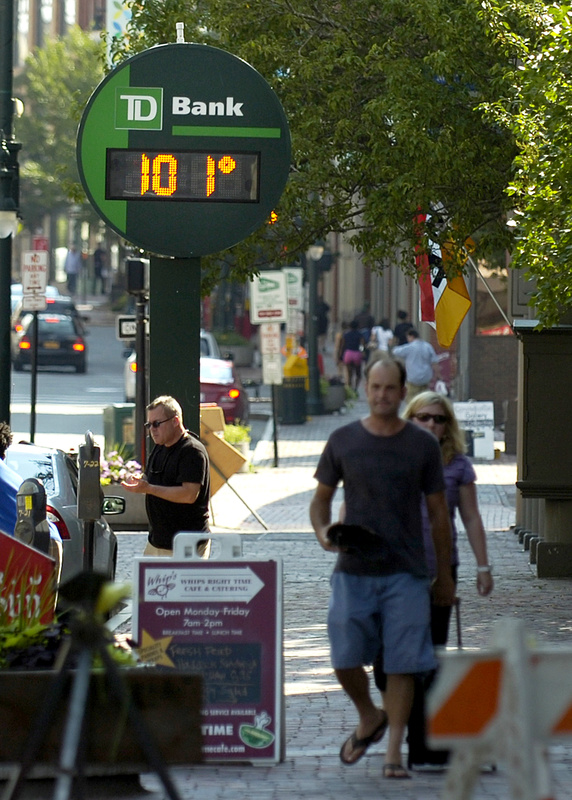 The TD Bank thermometer on Congress Street in Portland showed a scorching temperature of 101 late Friday afternoon, though the officially recorded high temperature in Portland was 95, still high enough to set a new record.