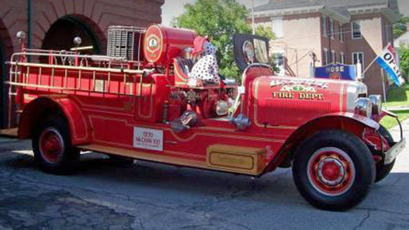 This 1930 McCann fire truck was involved in the fatal collision during the Bangor July Fourth parade. The fire truck rolled onto an antique tractor, killing the driver of the tractor. Police say the fire truck's brakes may have malfunctioned.