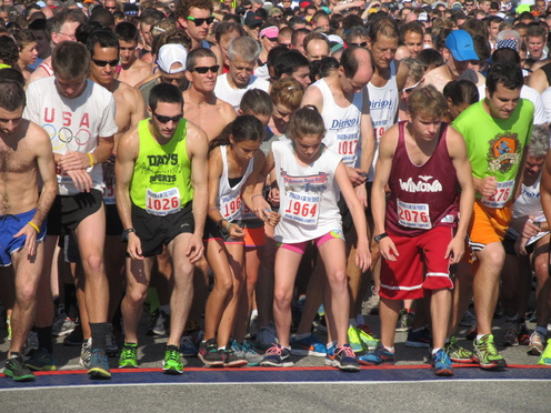 Runners of all ages found some room at the front of the pack Thursday, waiting to start the 37th annual holiday running of the Bridgton 4 on the Fourth.