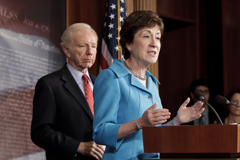 Sen. Susan Collins, R-Maine, the former ranking member of the Senate Homeland Security Committee, has been rumored to be a possible replacement for Janet Napolitano as head of Homeland Security, but she says she's happy in her current position. (AP Photo/J. Scott Applewhite)
