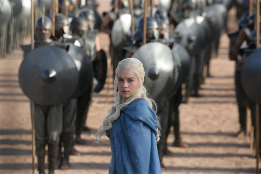 This publicity image released by HBO shows Emilia Clarke in a scene from