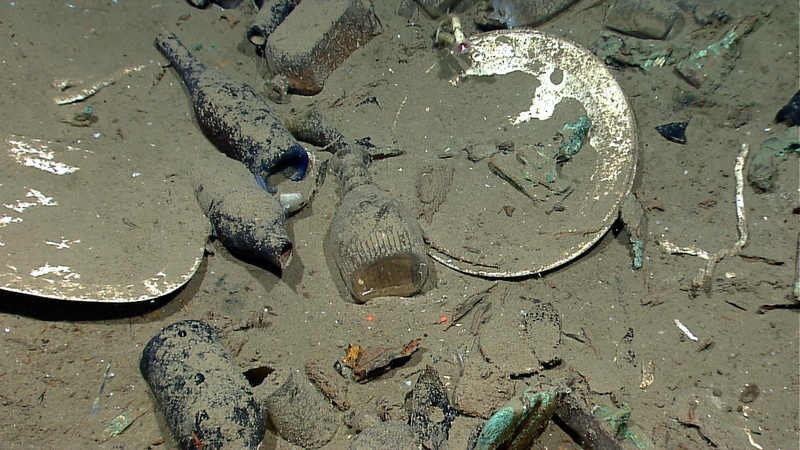 A variety of artifacts including ceramic plates, platters and bowls, as well as glass liquor, wine, medicine and food storage bottles of many shapes and colors were found inside a wrecked ship's hull in the Gulf of Mexico about 170 miles from Galveston, Texas.