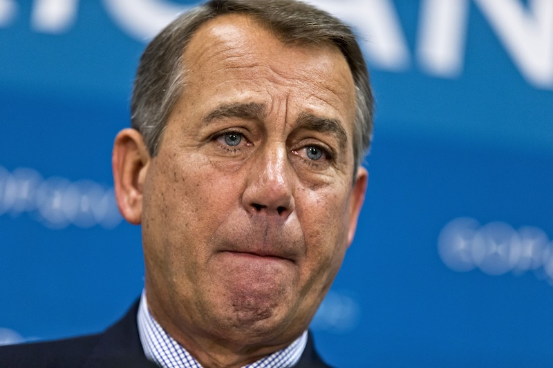 House Speaker John Boehner of Ohio, and GOP leaders, pauses while meeting with reporters on Capitol Hill in Washington, Tuesday, July 9, 2013, following a Republican strategy session. House Republicans confronting the politically volatile issue of immigration are wrestling with what to do about those already here illegally, with most Republicans reluctant to endorse citizenship for 11 million unauthorized immigrants but also shying away from suggestions of deportation. (AP Photo/J. Scott Applewhite)