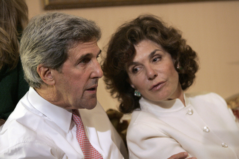 Then-Sen. John Kerry, D-Mass., and his wife Teresa Heinz Kerry watch election results at a hotel in Boston in 2008.