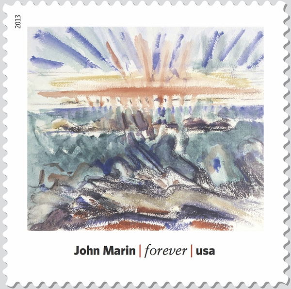 """John Marin's """"Sunset, Maine Coast"""" (1919) is part of a Modern Art in America stamp series."""