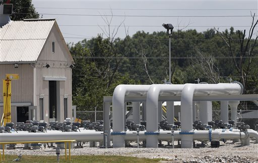 Pipe extends above ground at the Enbridge Key Terminal near Salisbury, Mo. The company hopes to begin construction of the Flanagan South pipeline in early August.