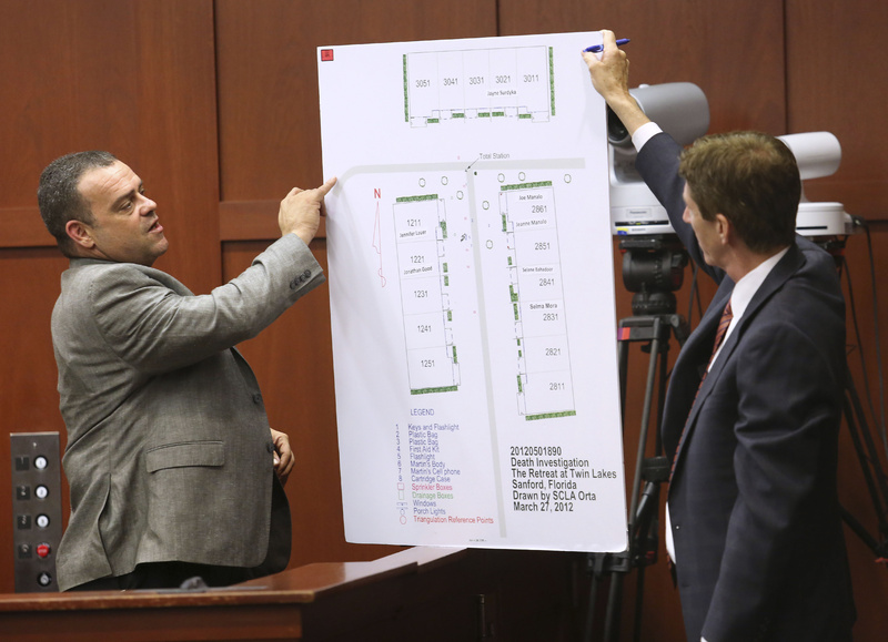 Defense attorney Mark O'Mara, right, questions Sanford, Fla., police Detective Chris Serino during the George Zimmerman trial in Seminole circuit court Tuesday in Sanford.