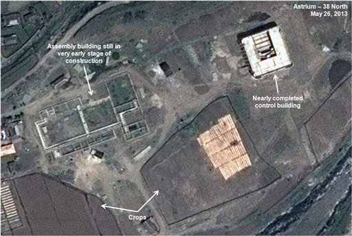 This May 26, 2013, satellite image taken by Astrium and annotated and distributed by 38 North shows an unfinished new missile assembly building, top left, and control center, top right, at the Tonghae facility in North Korea.