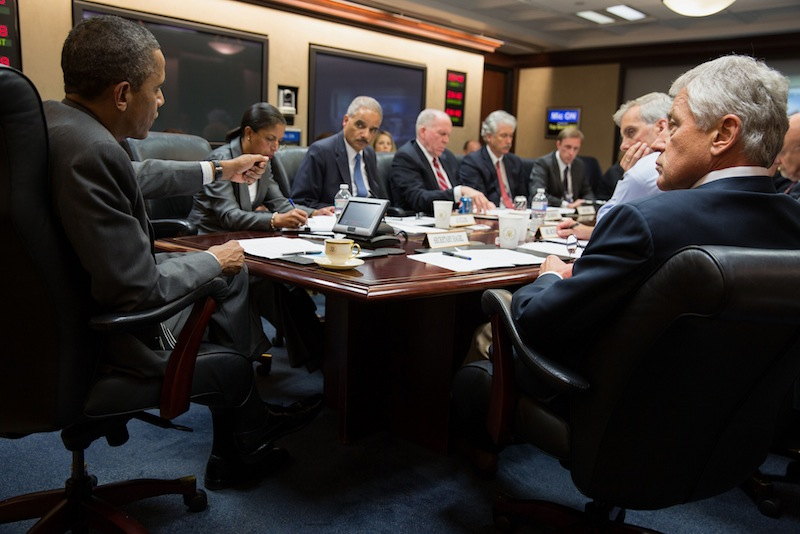 This handout photo provided by the White House, taken July 3, 2013, shows President Barack Obama meeting with members of his national security team to discuss the situation in Egypt in the Situation Room of the White House in Washington. The Obama administration is treading carefully after Egypt's military overthrew its president, wary of taking sides in a conflict that pits a democratically elected leader against a people's aspirations for prosperity and inclusive government. (AP Photo/White House Photo, Pete Souza)