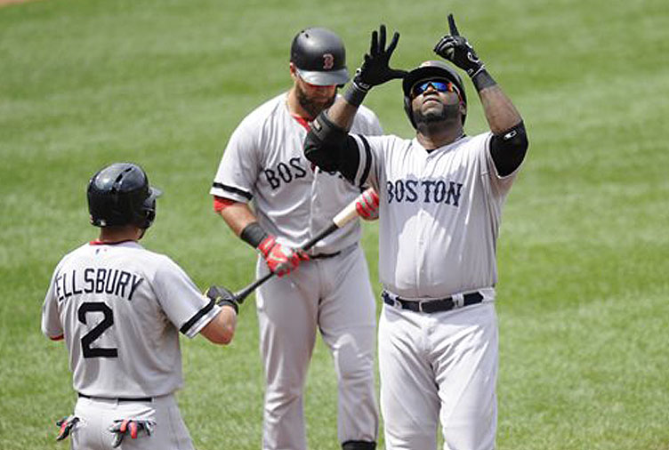 Boston Red Sox designated hitter David Ortiz, right, celebrates his two-run home run near teammate Jacoby Ellsbury (2) during the third inning against the Baltimore Orioles on Sunday in Baltimore.