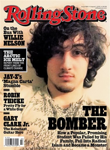 In this magazine cover image released by Wenner Media, Boston Marathon bombing suspect Dzhokhar Tsarnaev appears on the cover of the Aug. 1, 2013 issue of