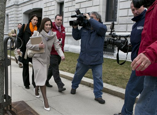 In this March 13, 2013 file photo, Alexis Wright leaves the Cumberland County Courthouse. The Kennebunk Zumba sex scandal, centering on Wright, has been made into a TV documentary. (AP Photo/Robert F. Bukaty)