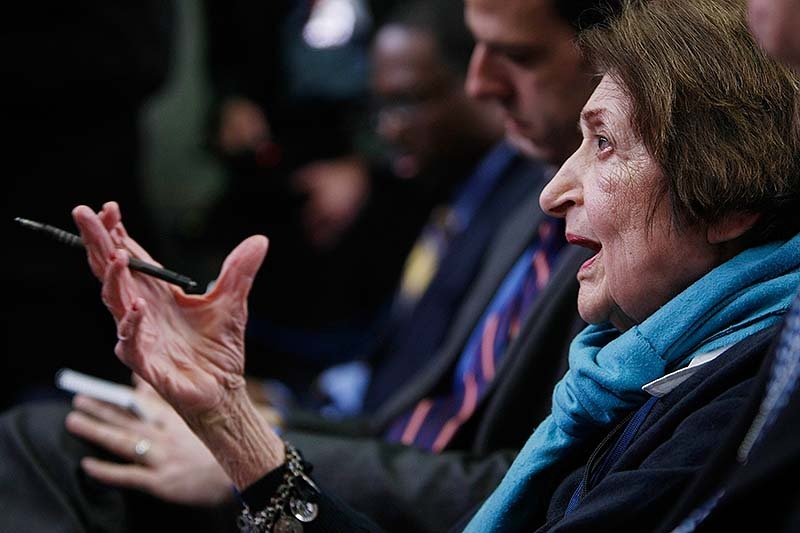 In this March 26, 2009, file photo veteran White House reporter Helen Thomas asks White House Press Secretary Robert Gibbs a question during the White House daily briefing in Washington. Thomas, a pioneer for women in journalism and an irrepressible White House correspondent, has died. She was 92.