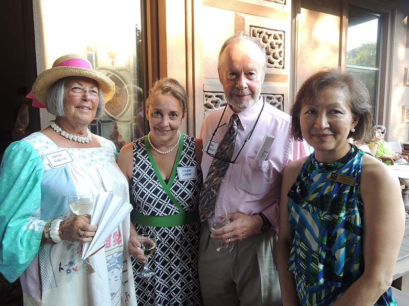 Opera fans Sarah Newick of York and Vickie Labbe of Portland; Jack Riddle, co-founder of PORTopera; and Helaine Ayers, a trustee of Victoria Mansion.
