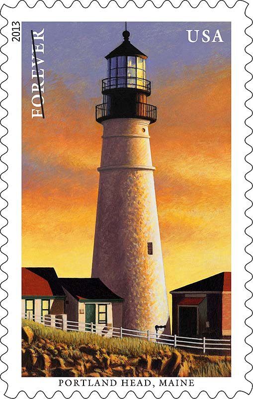 A new postal stamp features Portland Head. The USPS is releasing a series of five Forever stamps featuring images of five New England lighthouses.
