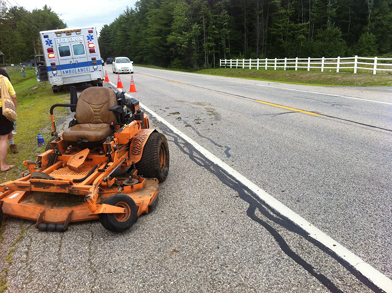 A commercial lawn mower was heavily damaged Sunday afternoon on Carl Broggi Highway in Lebanon when a van struck it. Rescue personnel evaluated the operator, but he refused to be taken to the hospital. Summer 2013