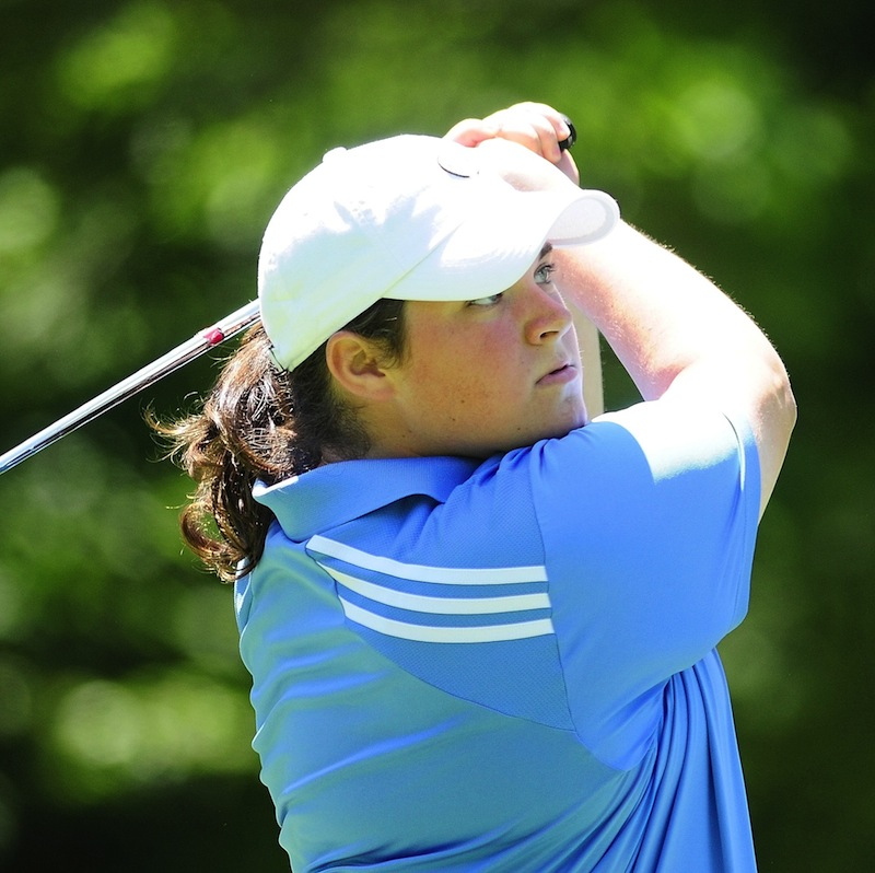 Emily Bouchard of Saco shot a second-round 77 on Tuesday, July 30, 2013 to take the lead in the Maine Women's Amateur golf championships at the Brunswick Golf Club.