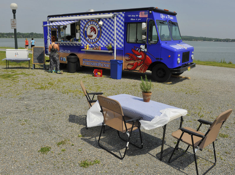 Portside Picnic, a food truck serving items featuring local Maine ingredients, in Portland's Back Cove parking lot.