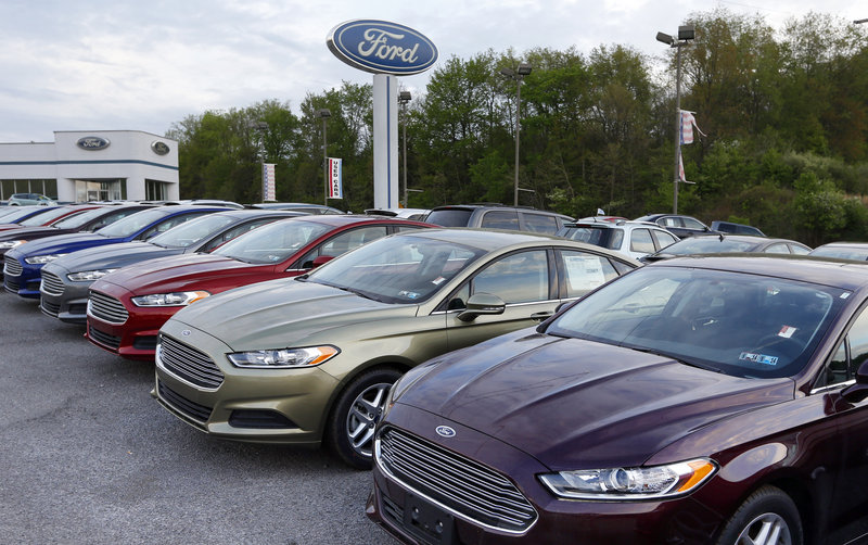 New Ford Fusions are ready for sale at a dealership in Zelienople, Pa.