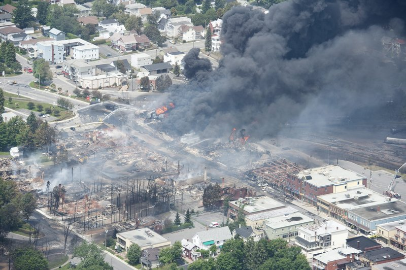 A large swath of Lac-Megantic in the Canadian province of Quebec was destroyed Saturday after a train carrying crude oil derailed, sparking several explosions and forcing the evacuation of up to 1,000 people.
