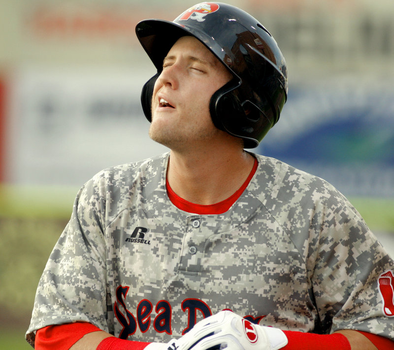 Kolbrin Vitek shows his disgust after grounding into a double play Saturday during the Sea Dogs' 9-4 defeat against the New Britain Rock Cats.