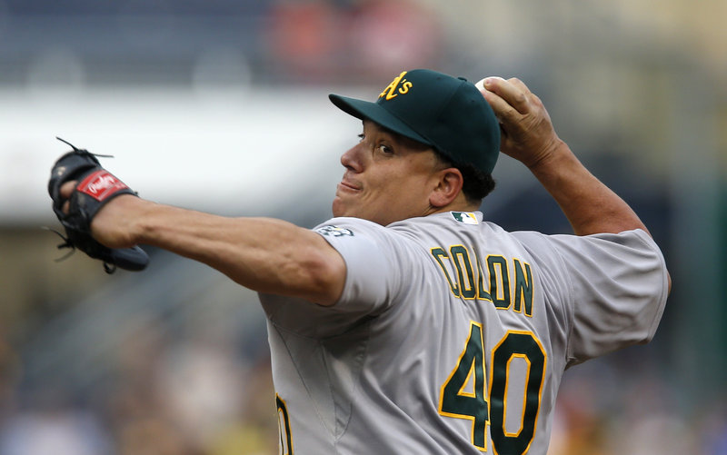 Oakland's Bartolo Colon improved to 12-3 Monday, leading the A's to a 2-1 interleague win at Pittsburgh. Colon is now tied for second in victories in the majors this year.