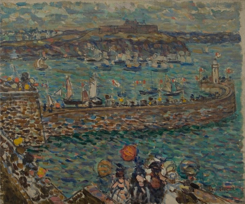 """""""Lighthouse at St. Malo,"""" c. 1907, by Maurice Prendergast"""
